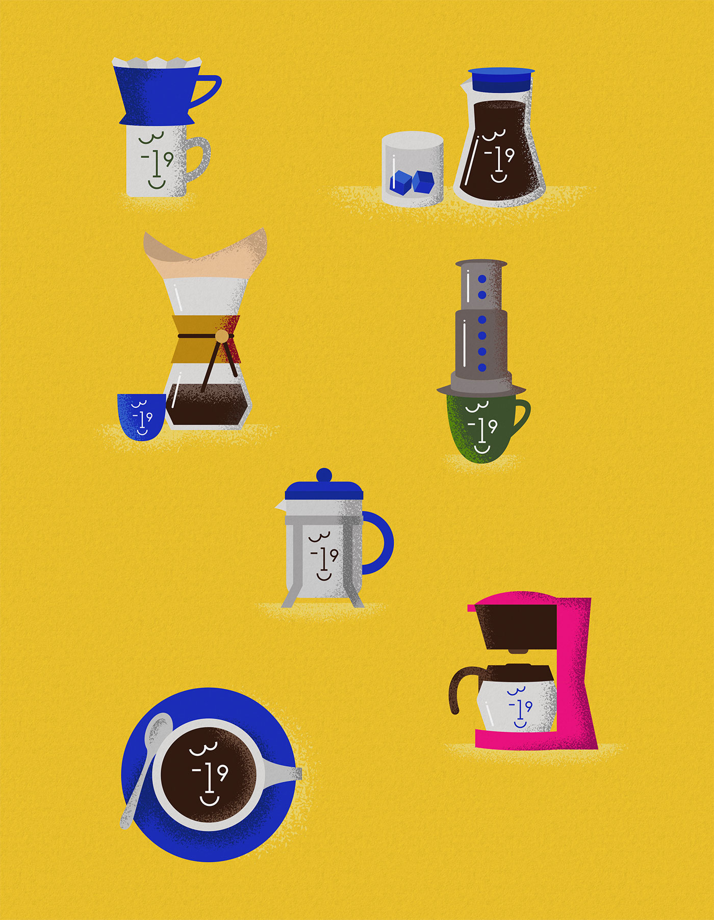 Outfit Branding 3-19 Coffee Brew Method Illustrations