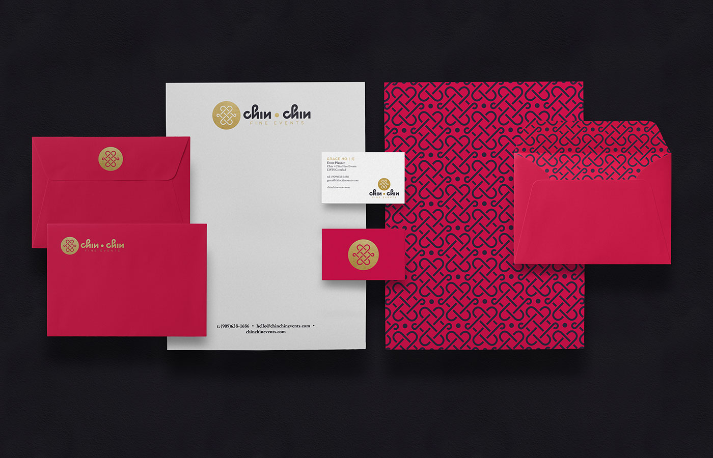Outfit Branding & Design Chin Chin Fine Events Stationery Design