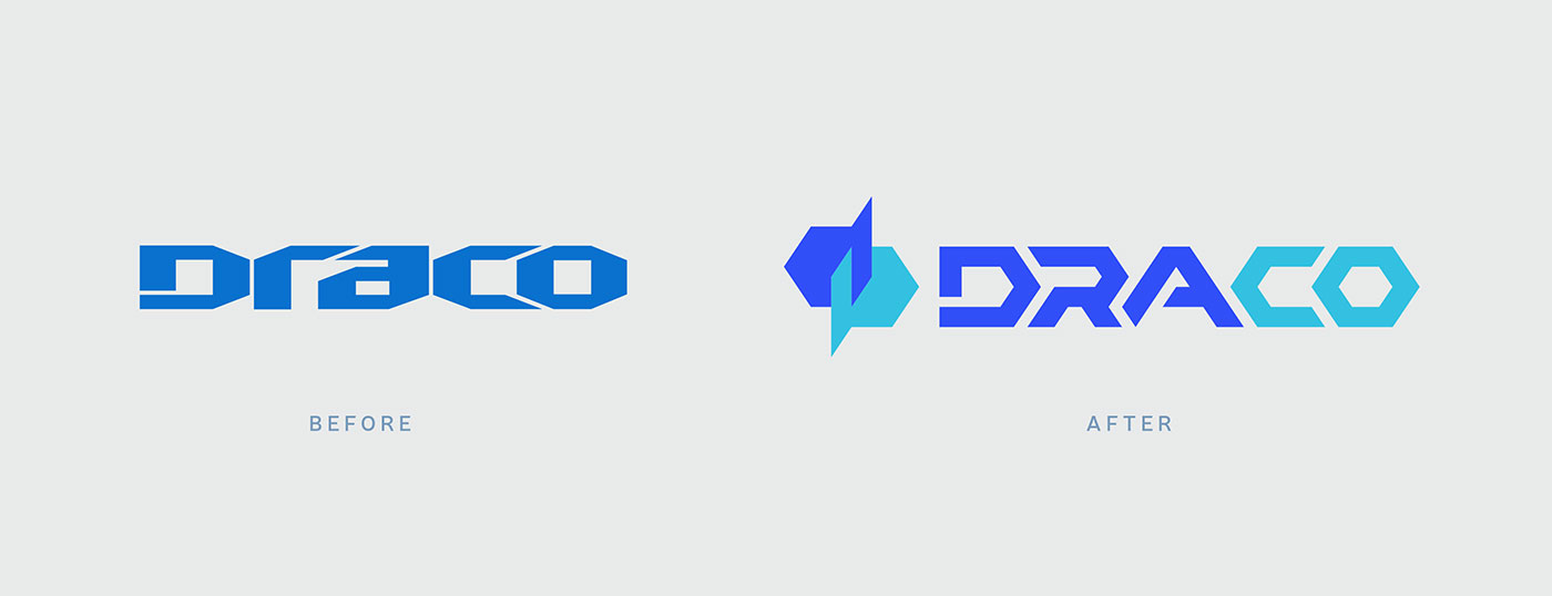 Outfit Branding & Design Draco Logo Before After