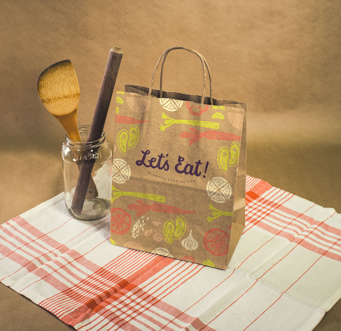 Outfit Branding & Design Let's Eat Paper Bag