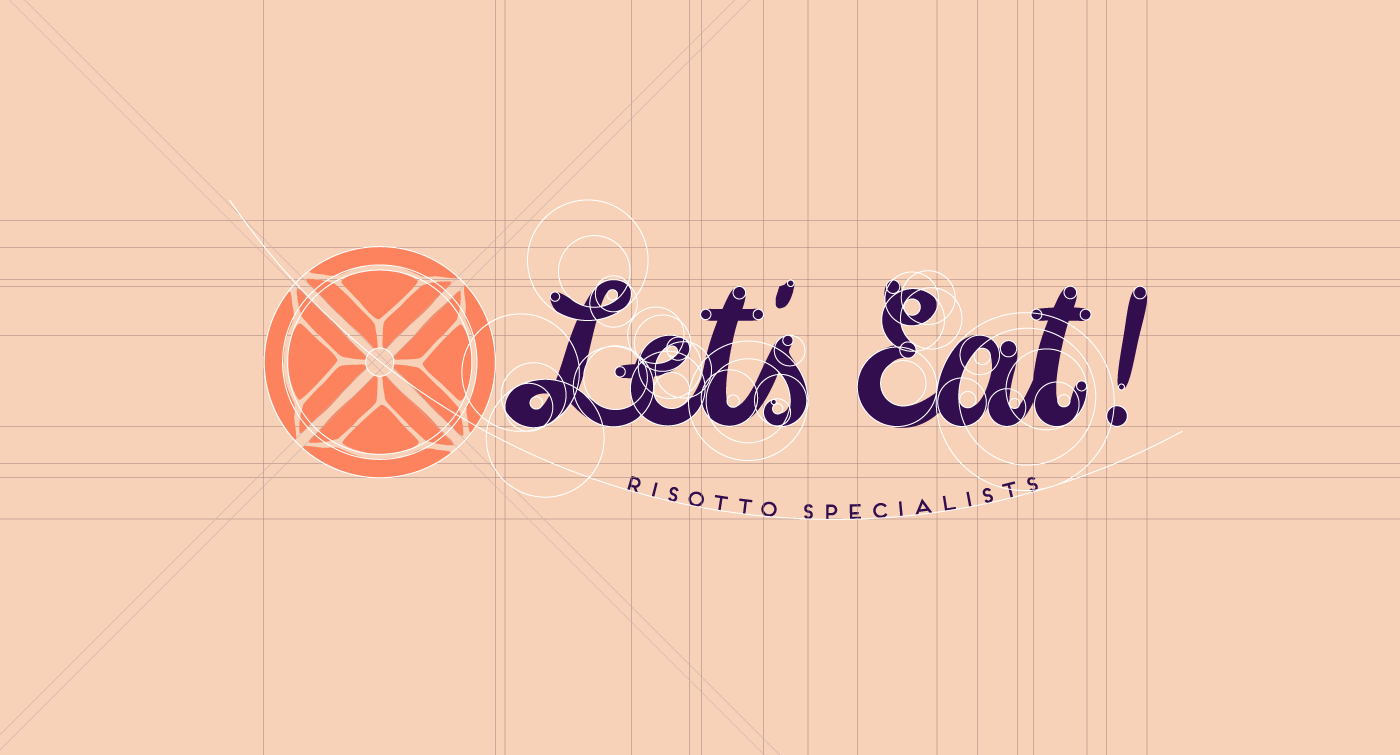 Outfit Branding & Design Let's Eat Logo Grid