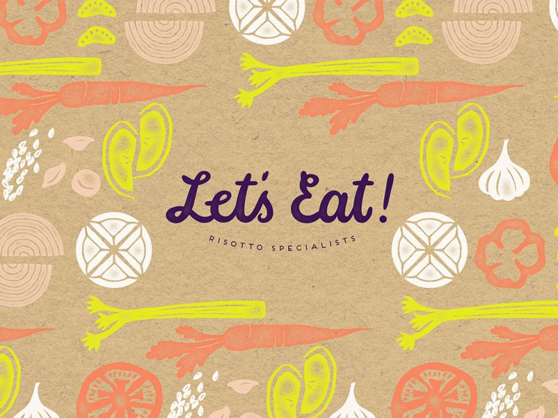 Outfit Branding & Design Let's Eat Logo Pattern