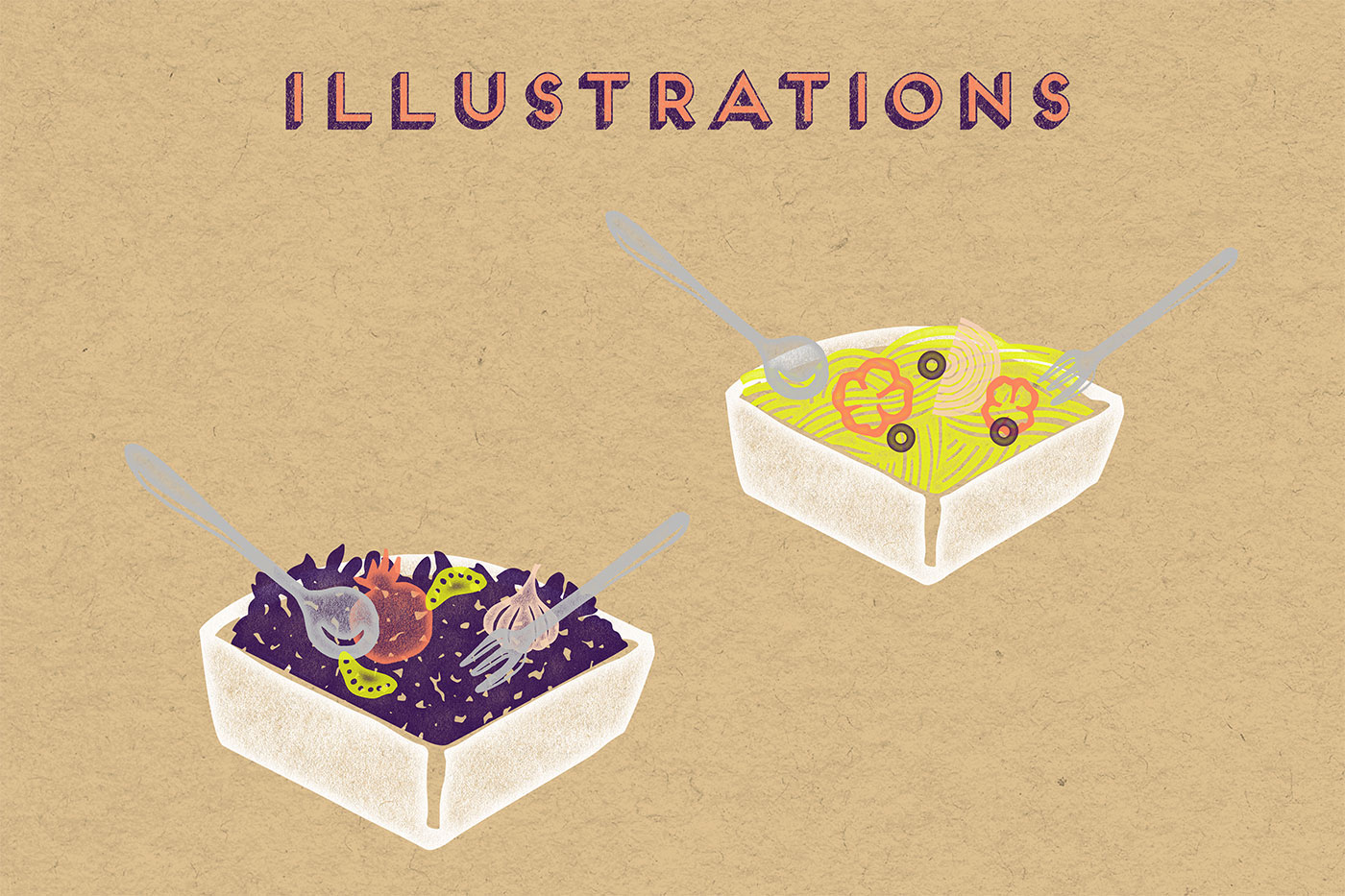 Outfit Branding & Design Let's Eat Illustrations